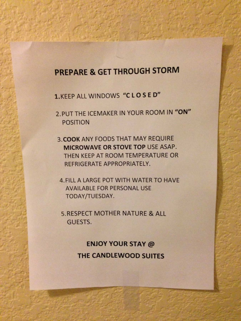 Ein Hinweis im Hotel