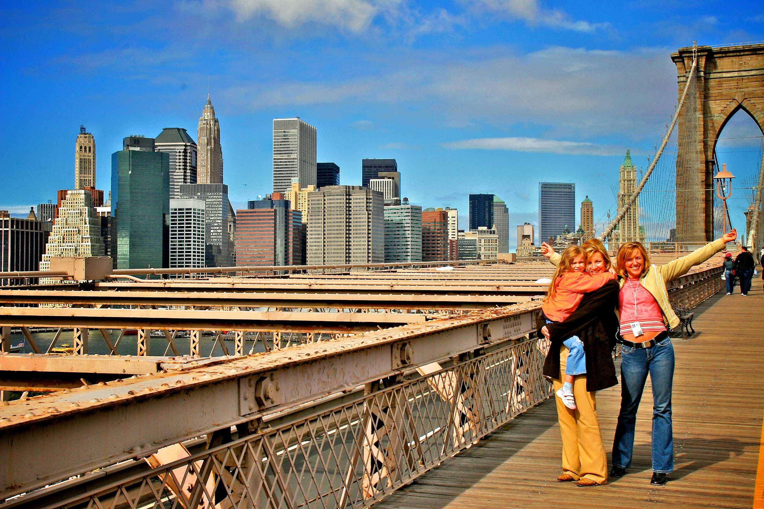 Mit Heike auf der Brooklyn Bridge