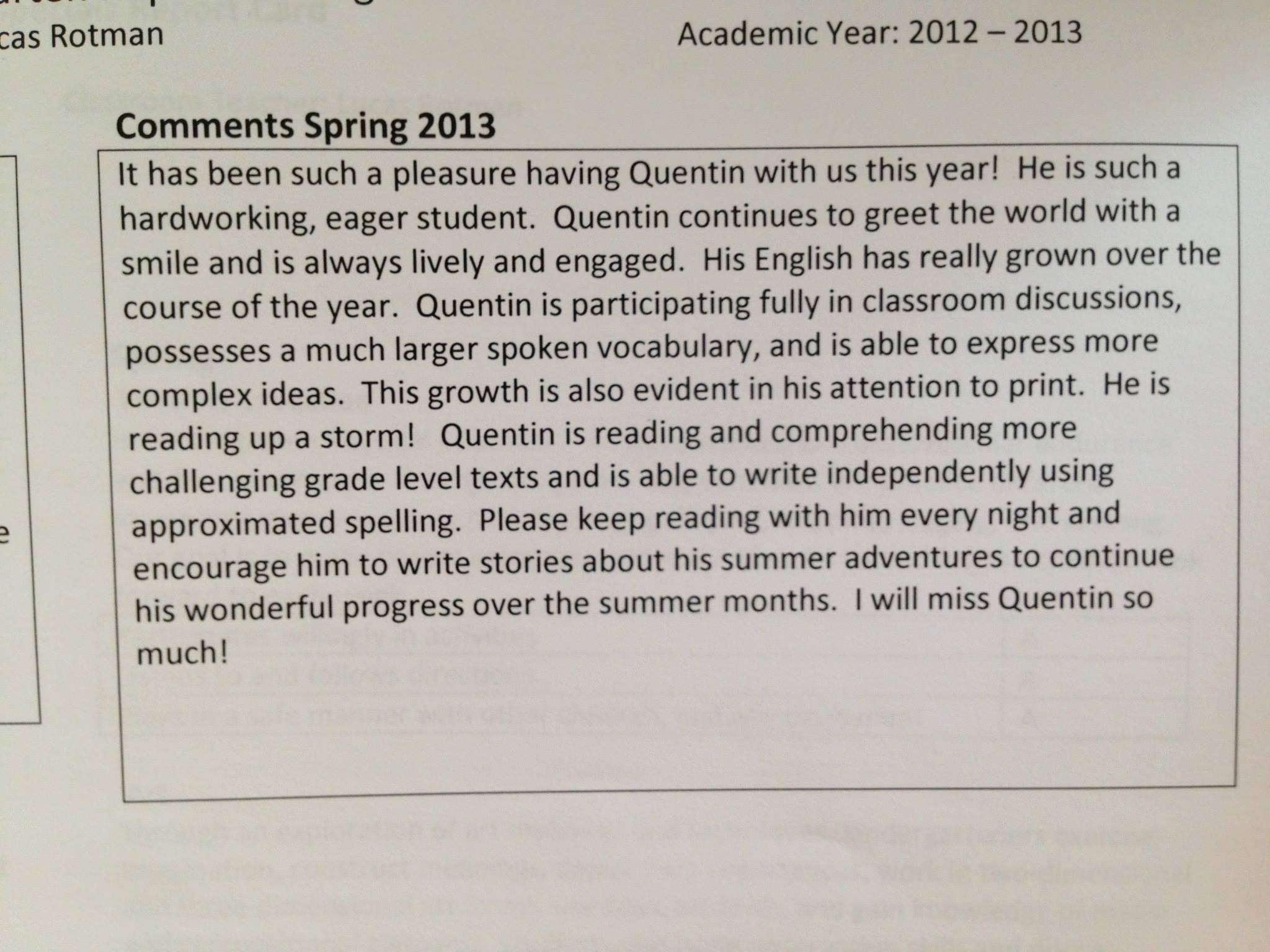 Quentin's Zeugnis